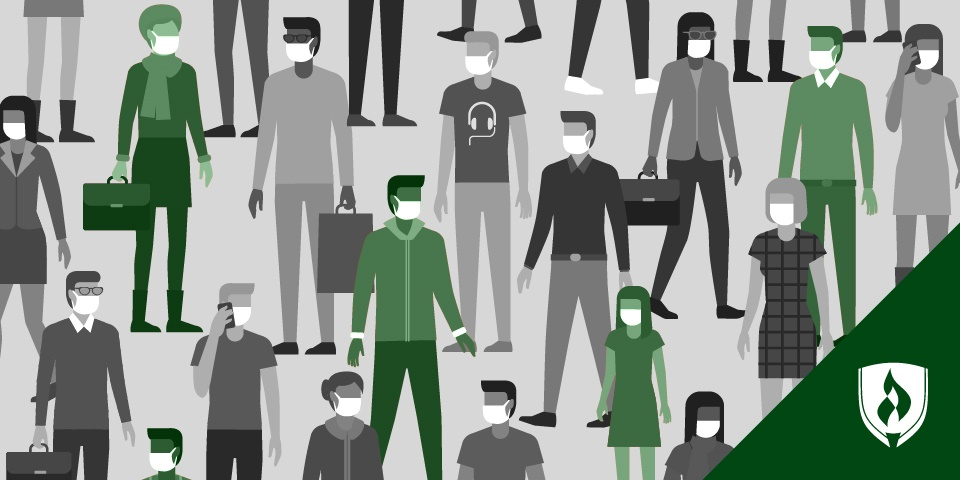 illustraiton of a crowd with face masks on