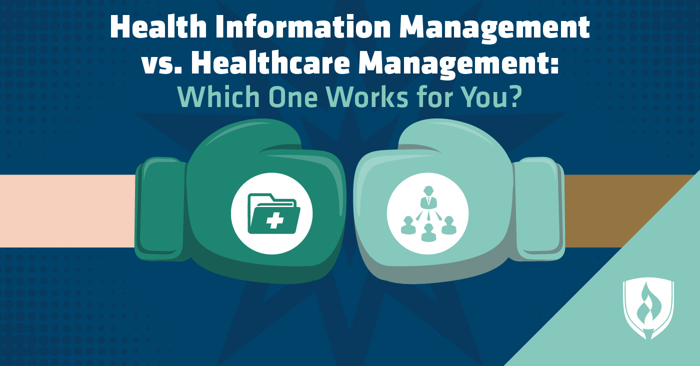 two boxes gloves with health information management and healthcare management icons