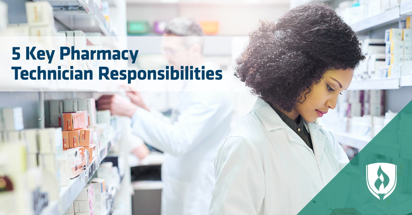 female pharmacy tech working in pharmacy lab