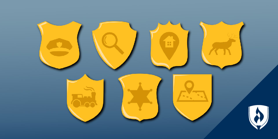 Illustration of different types of policy badges, sheriff, investigator, conversation officer, security
