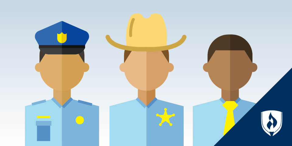 illustration of a sheriff deputy, patrol officer and correctional officer
