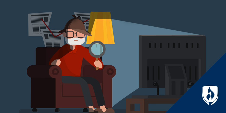 illustrated man sitting in a detective sleuth outfit in front of TV