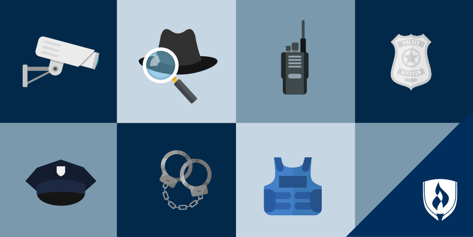 illustration of criminal justice icons, police hat, detective hat and magnifying glass, security camera, police badge