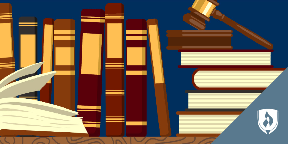 illustrated books and gavel