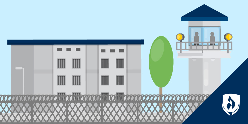 illustrated prison with tower