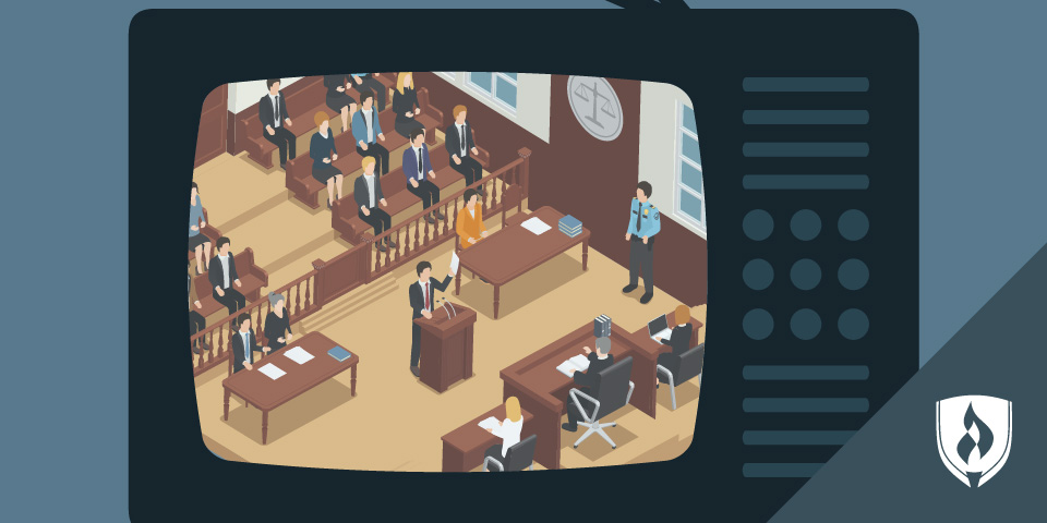 illustrated courtroom trial on a TV