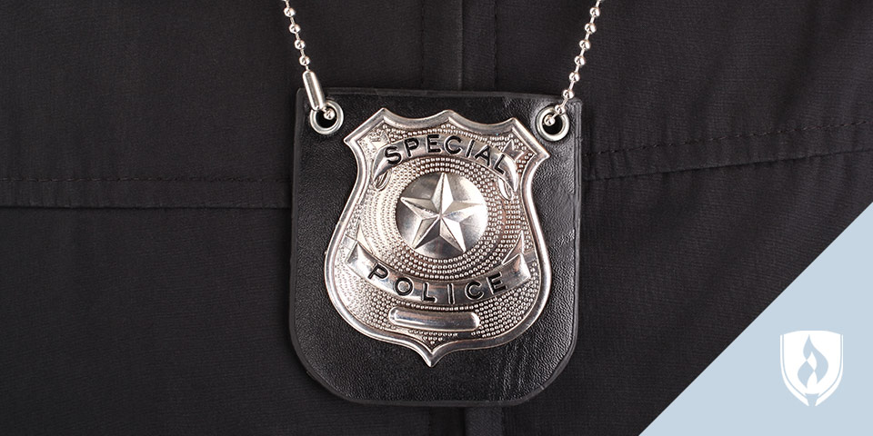 police badge on an officer