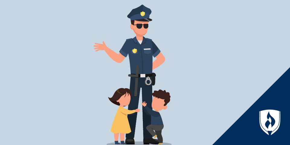 illustration of police officer with two kids hanging on legs