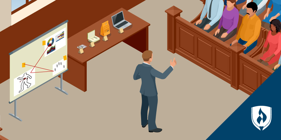 lawyer presenting evidence in court room