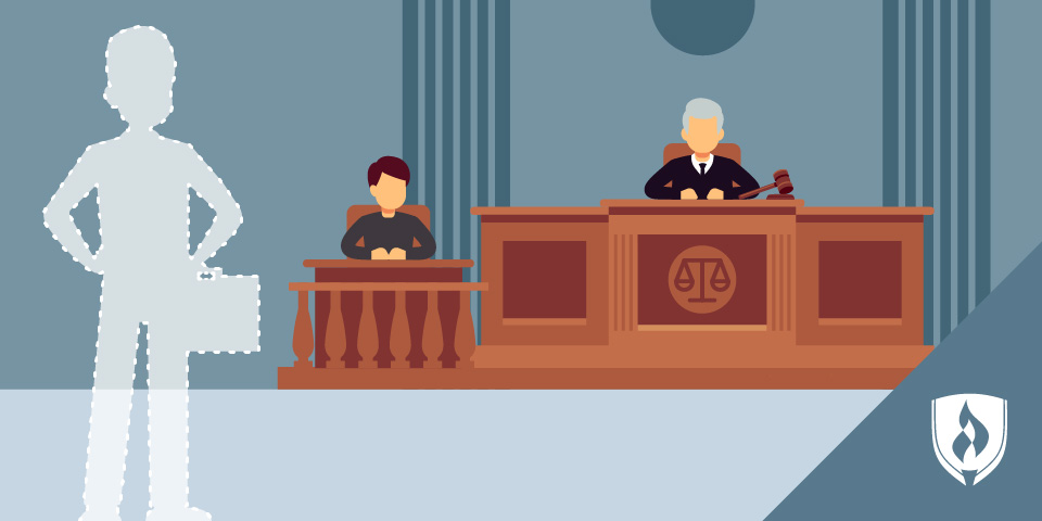 silhouette of professional in court room
