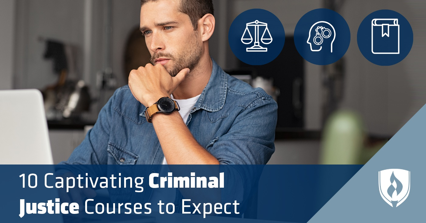 student working on a criminal justice course with justice icons on the right