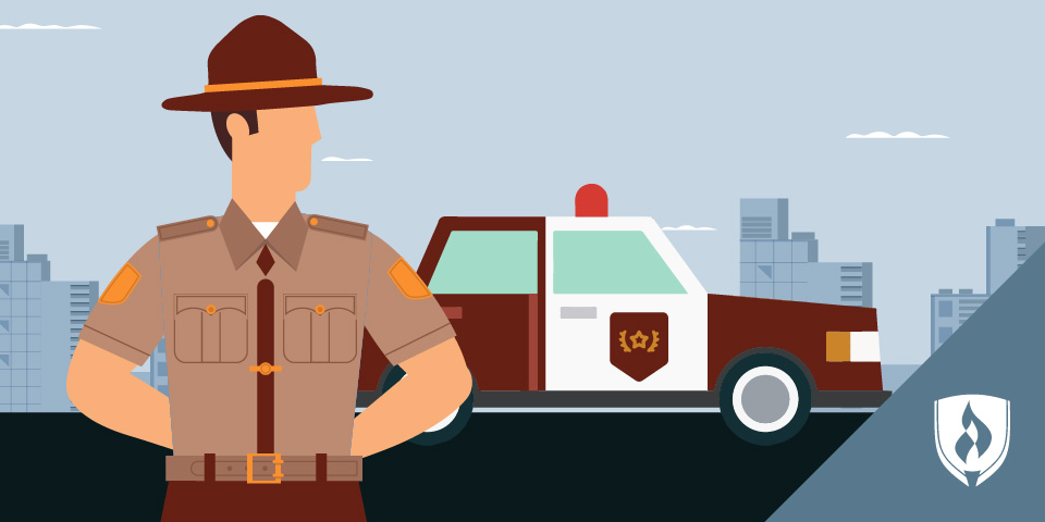 illustration of state trooper in front of patrol car