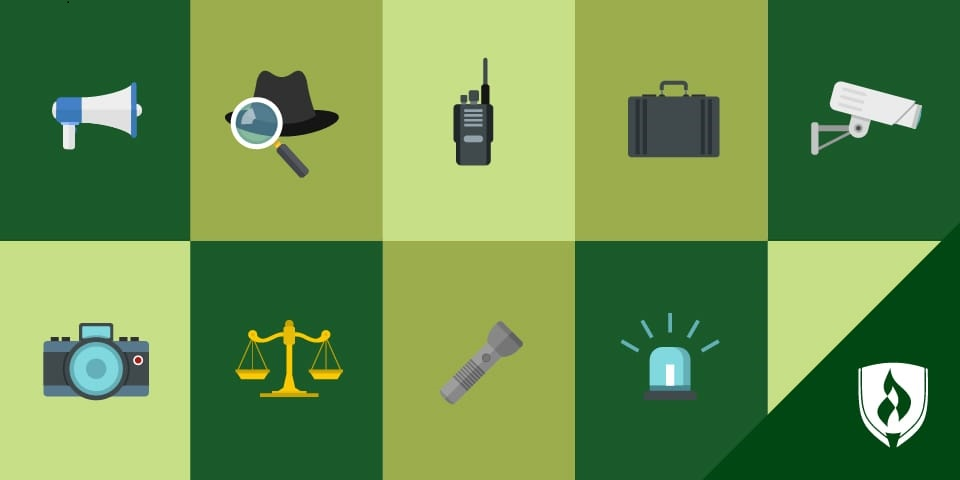 Blue checkerboard image with several tools and icons related to criminal justice jobs.