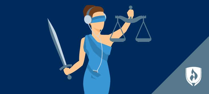 illustration of lady justice listening to headphones
