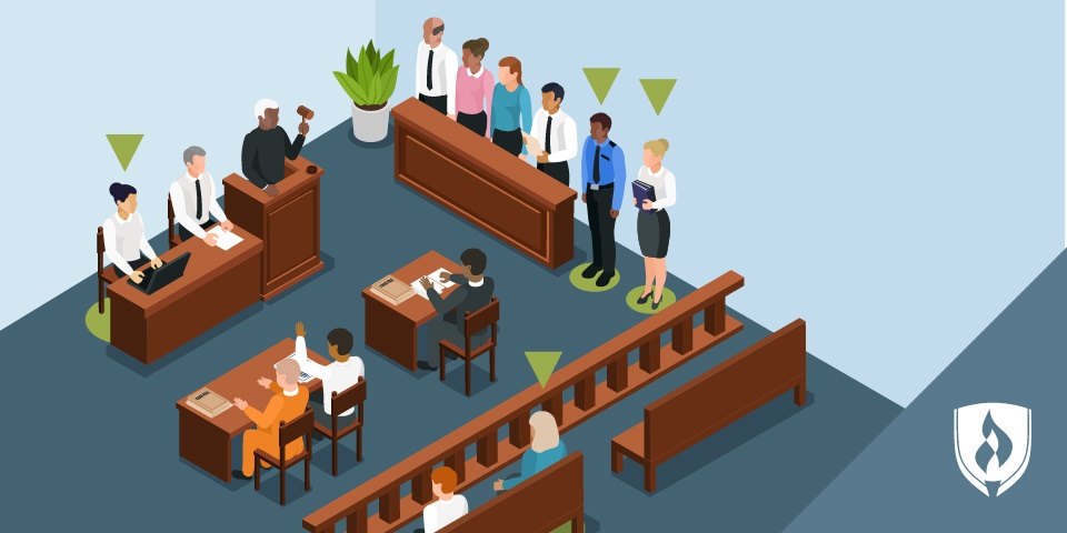 illustration of a court room with green arrows over several professionals in the room