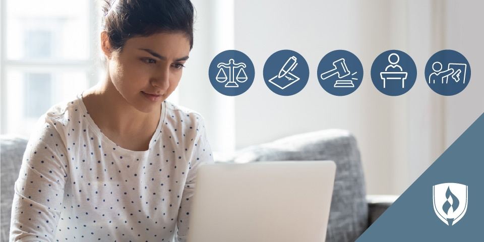 Young woman on laptop considering her paralegal education options