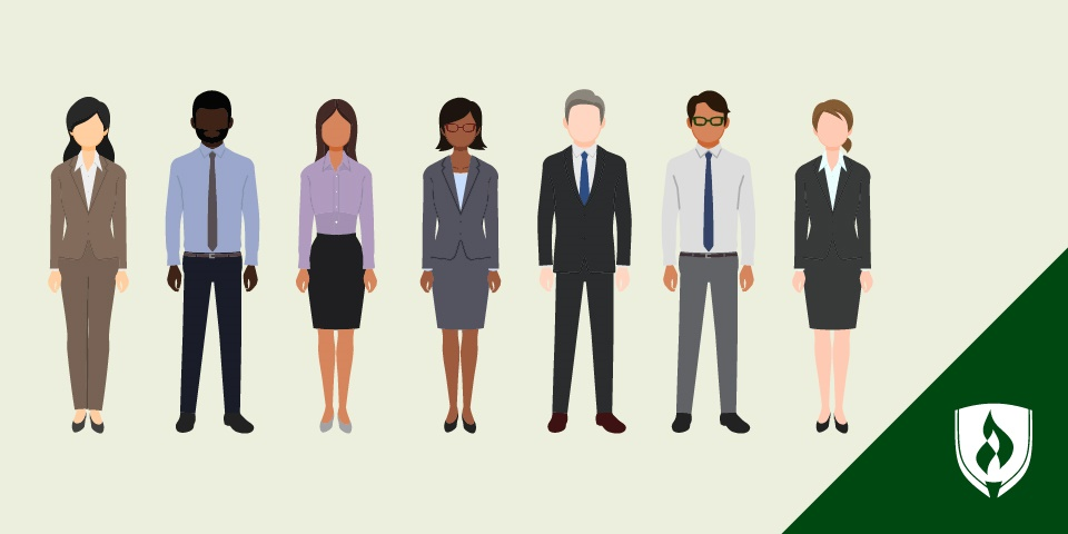 illustration of different attorneys standing in a line
