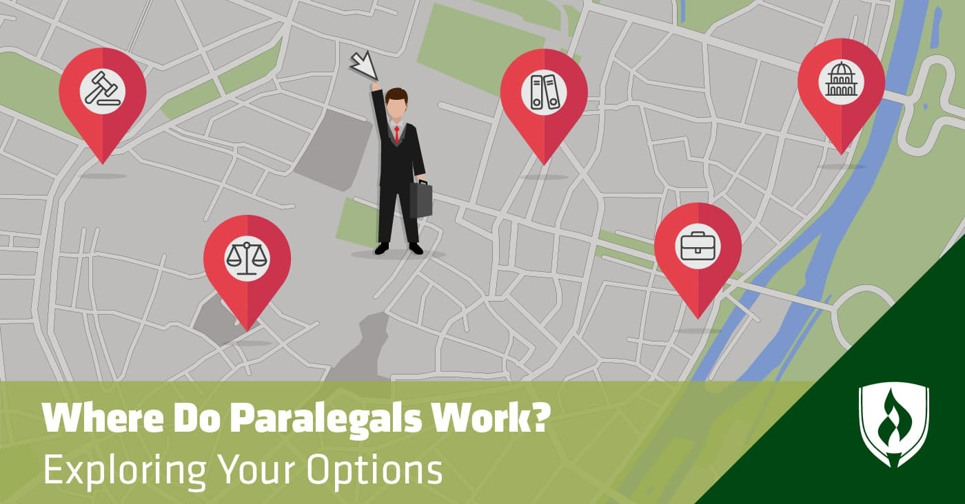 illustration of a paralegal standing on a map