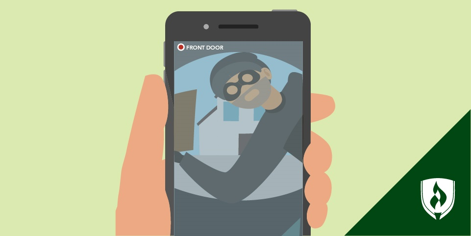 illustration of an iphone security app camera with a robber in the frame