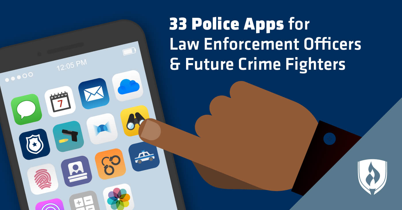 illustrated hand using police app on phone