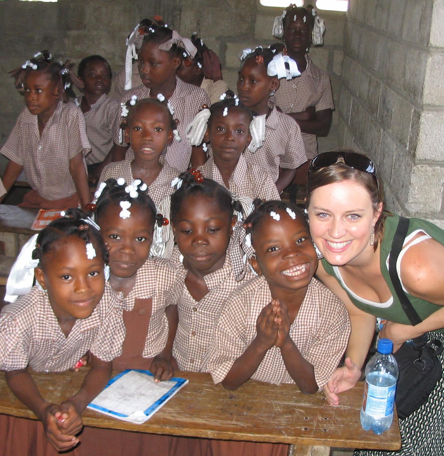 Brown at an American orphanage on the coast of Haiti