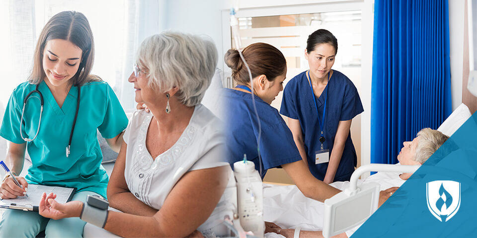 female nurses helping elderly female patients