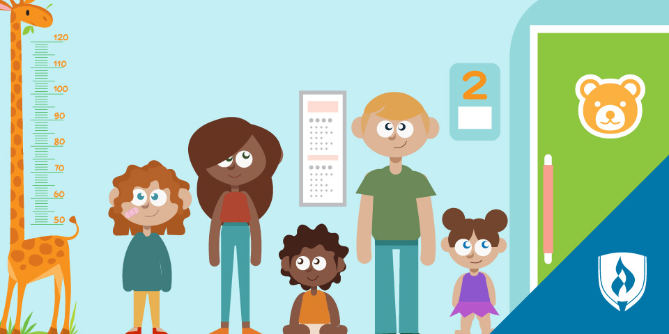 illustration of children in doctors office with giraffe measuring chart