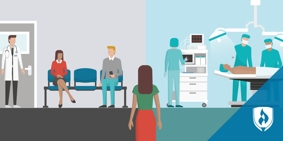 clinic waiting room and doctors in an OR