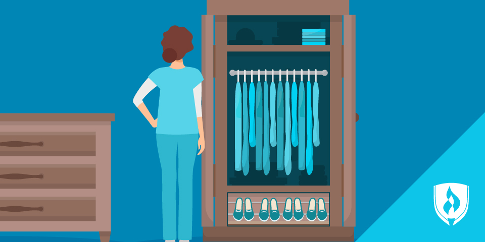 illustrated nurse looking at her closet