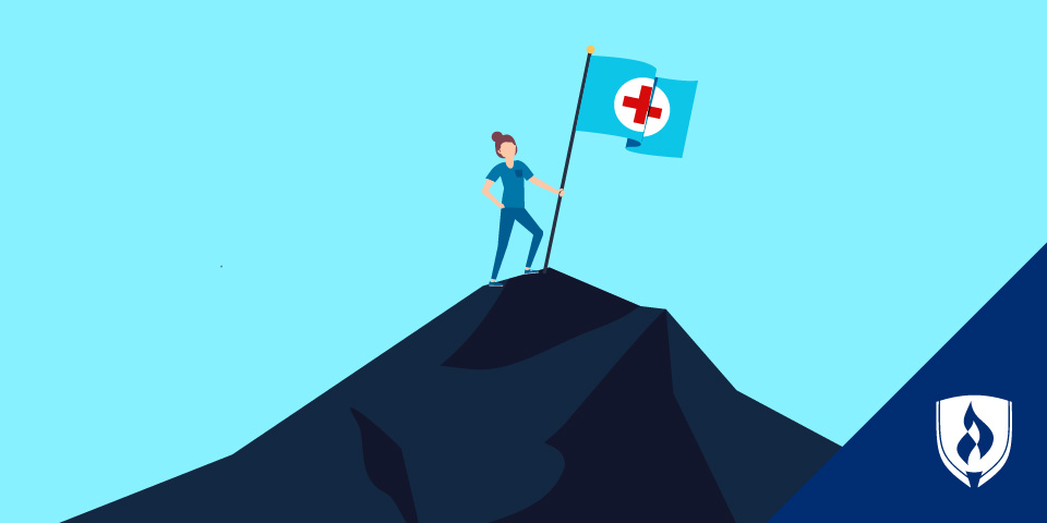 illustration of a nurse standing on a mountain with nursing flag