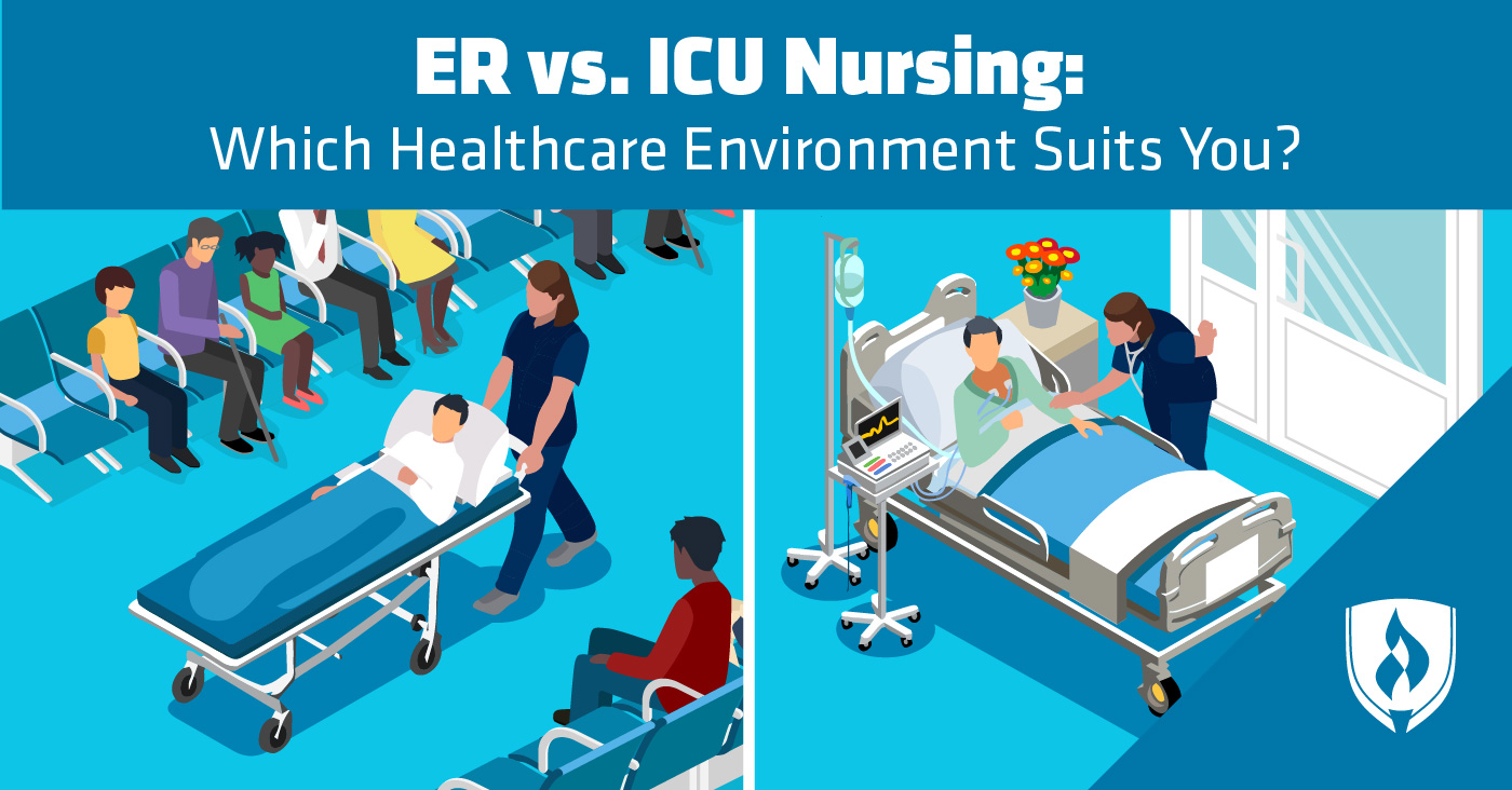 split screen showing the two healthcare environments