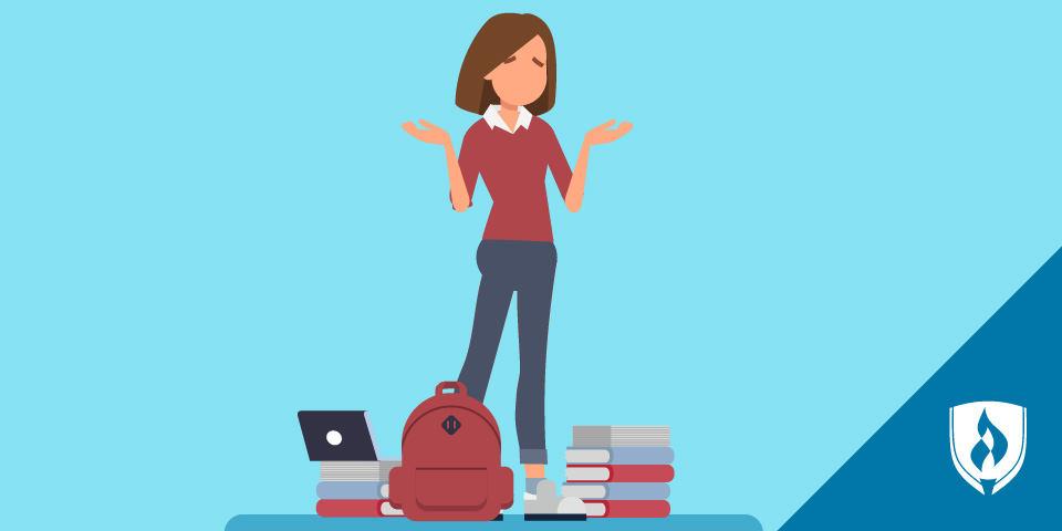 illustrated woman standing by books and backpack