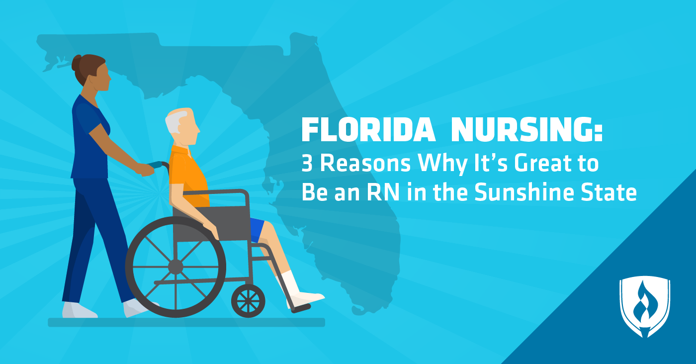 illustrated nurse in front of florida outline