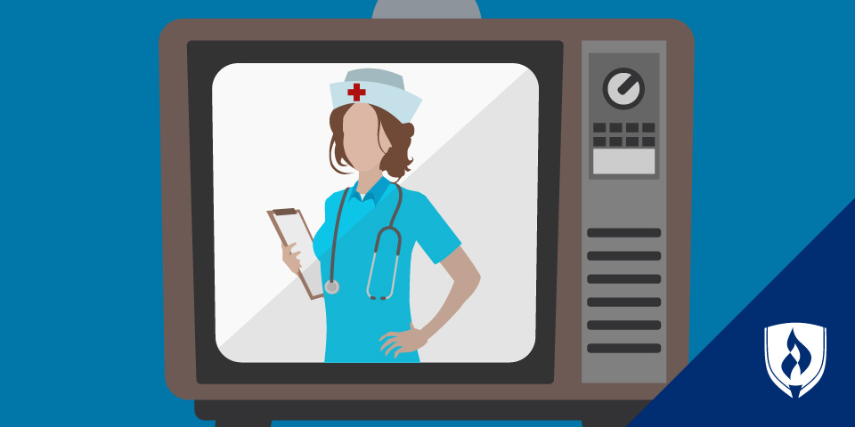 illustrated nurse on tv screen