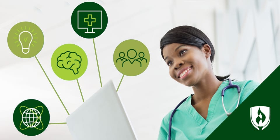 female nurse next to healthcare symbols