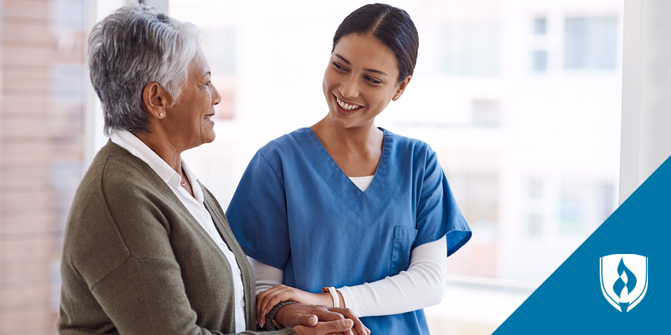 LPN talking with elderly patient
