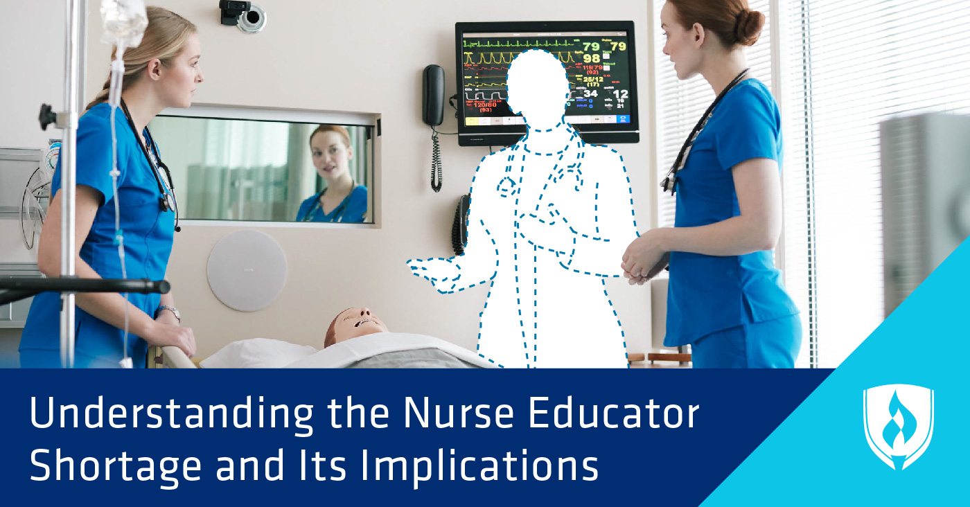 nursing students looking at silhouette of a nursing instructor