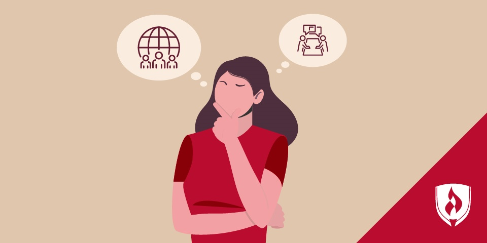 illustration of woman thinking with two human resources icons above her head