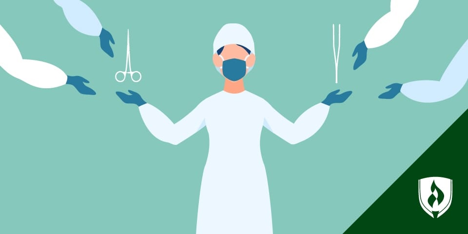 illustration of a surgeon being handed surgical tools