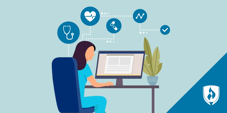 illustration of a nurse studying in scrubs at a desk with icons like a stethoscope and a check-mark over the monitor