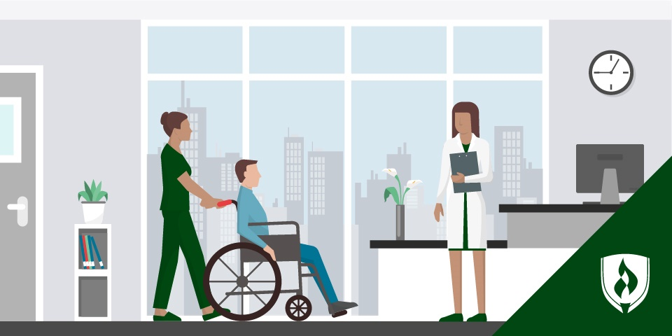 illustration of a cna pushing a patient in a wheelchair to see a provider