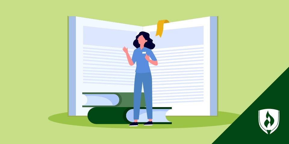 Illustration of a nurse standing in front of a large textbook of nursing terms