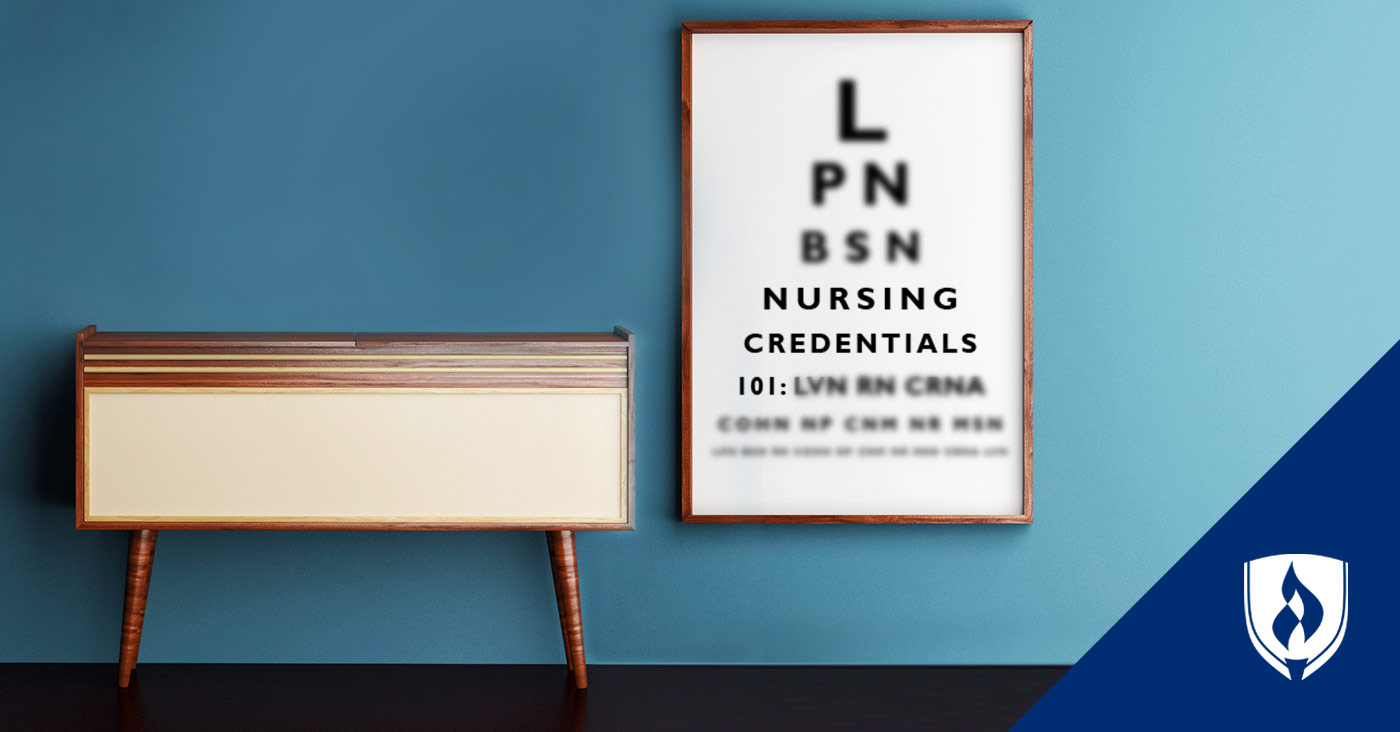 eye chart with L P N B S N letters on it with nursing credentials