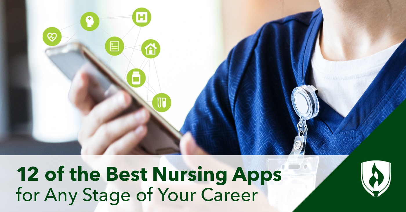 nurse using tablet with loaded with different apps