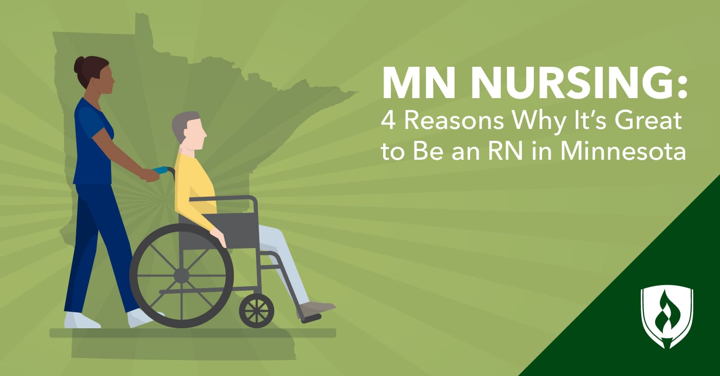 illustrated nurse pushing male patient in wheelchair with state of MN in background