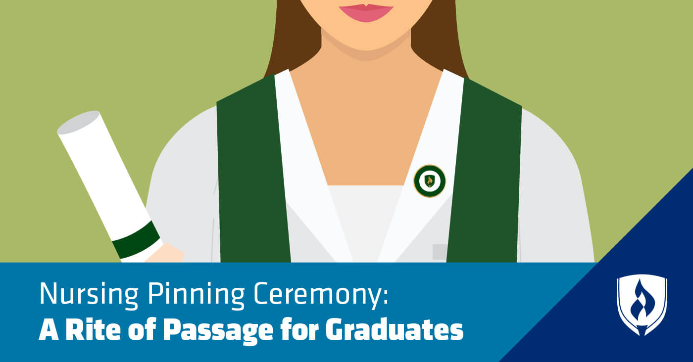 illustrated female nurse with diploma and nursing pin