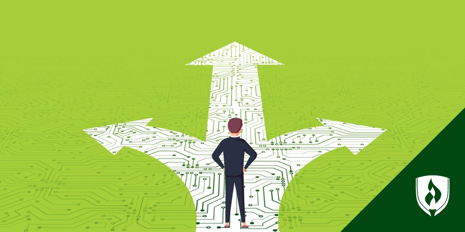 illustration of a man standing on a path that looks like a motherboard