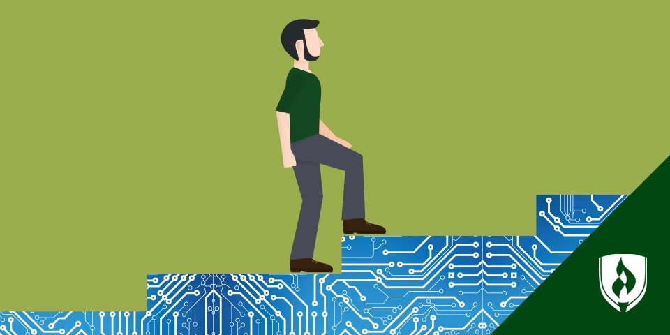 male walking up a circuit board