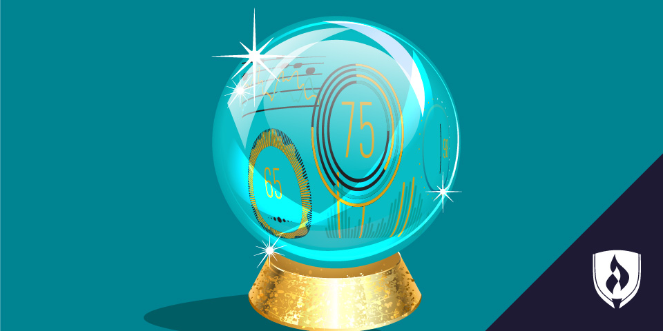 illustrated crystal ball with charts, graphs and data inside