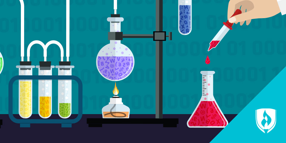 illustration of beakers and science lab